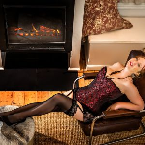 Melbourne escort Cara wearing lingerie and stockings