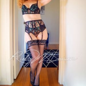 red head Ruby Maisen from Melbourne in erotic lingerie