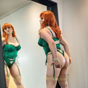 short and curvy Allora May on high heels