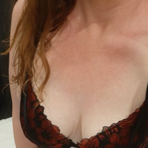Layla Maree with natural DD cup bust wearing lingerie