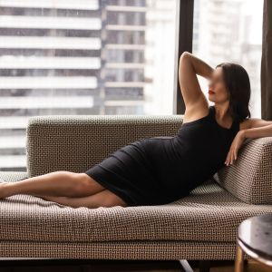 Melbourne escort Milly Moore wearing a classic dress